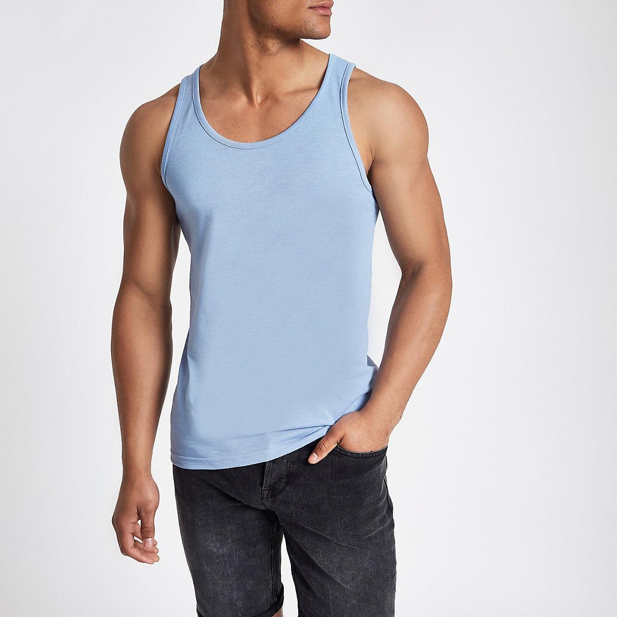 Blue scoop neck tank