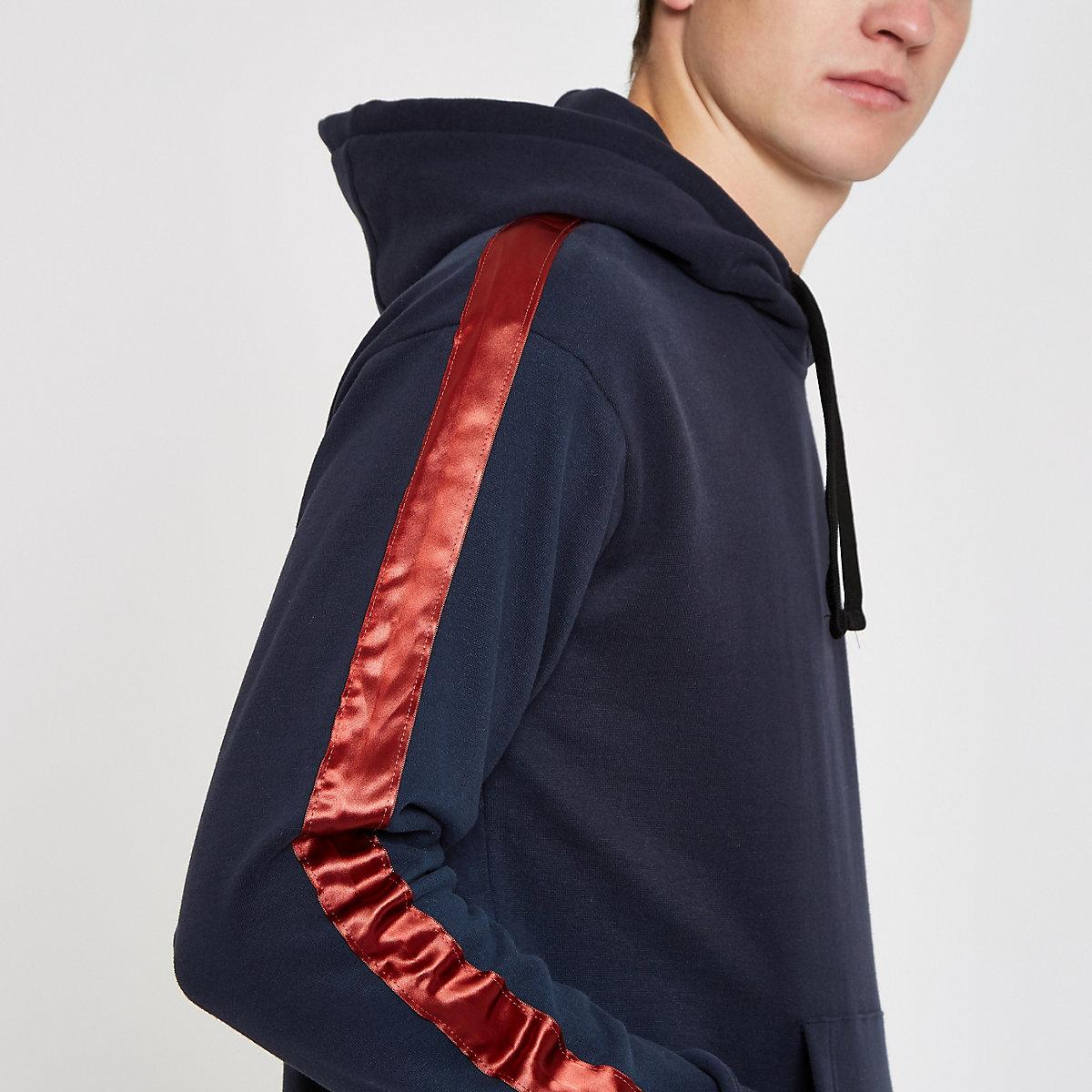 Jack & Jones blue satin tape hoodie