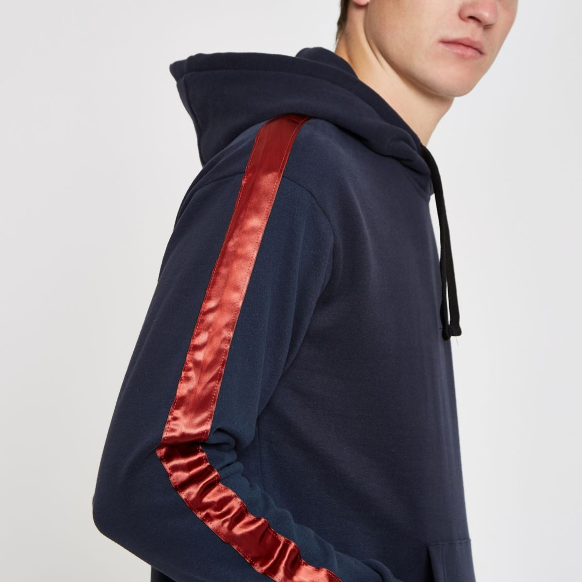 Jack & Jones blue satin tape hoodie