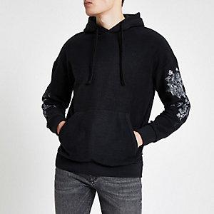 Jack & Jones - Zwarte geborduurde hoodie