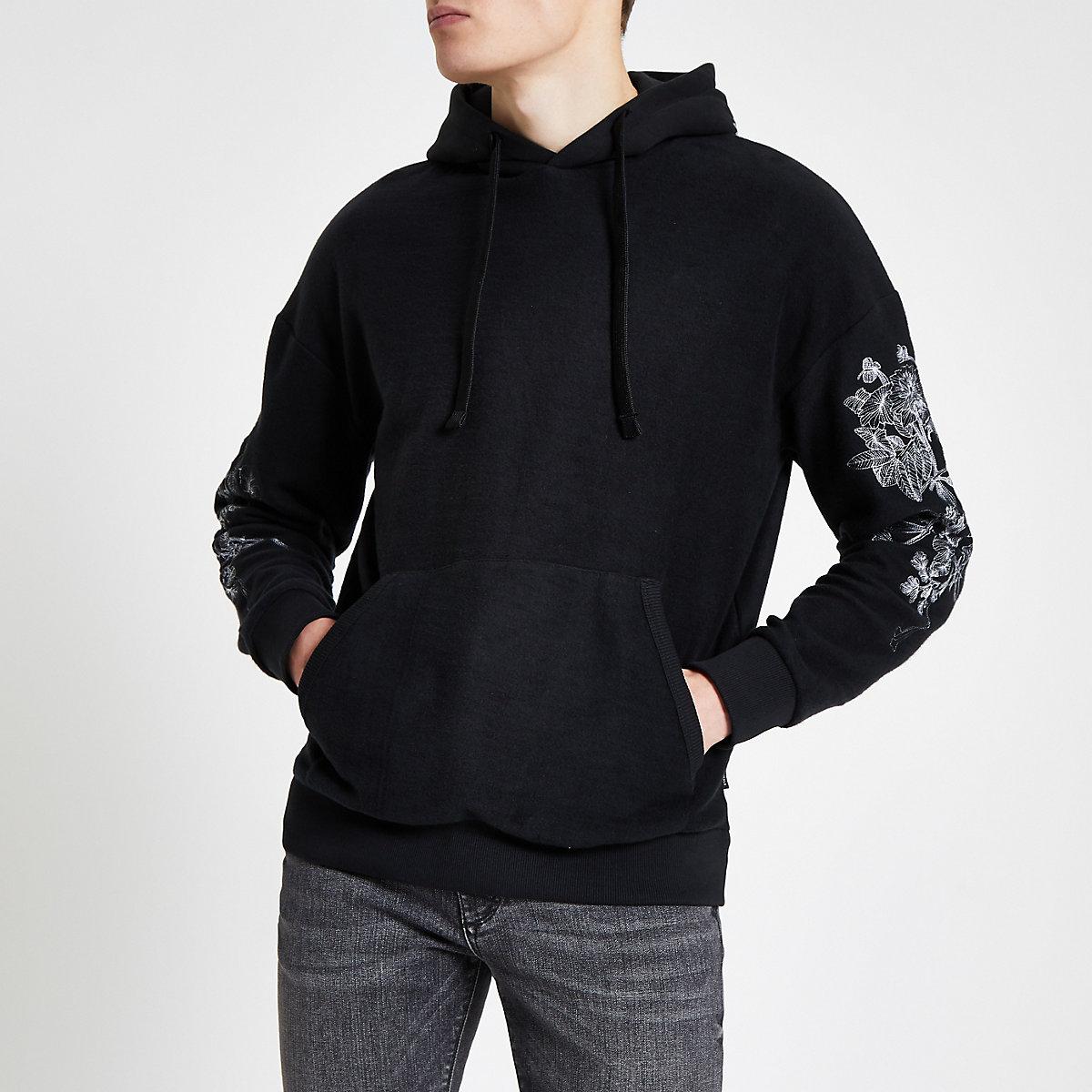 Jack & Jones black embroidered hoodie