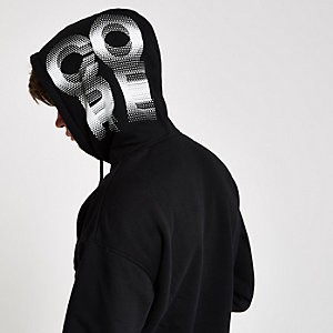 Jack & Jones Core – Sweat à capuche noir imprimé aux manches