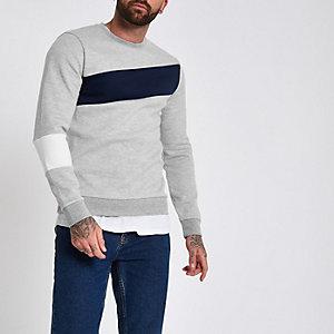 Graues Slim Fit Sweatshirt mit Blockfarben