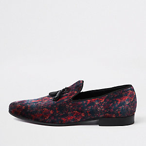 Navy velvet mixed print tassel loafer