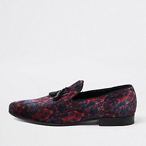 Navy velvet mixed print tassel loafer