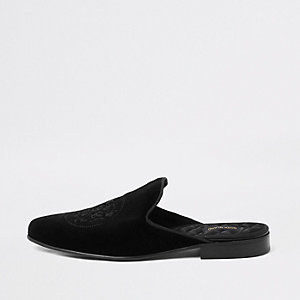 Black embroidered velvet backless loafer