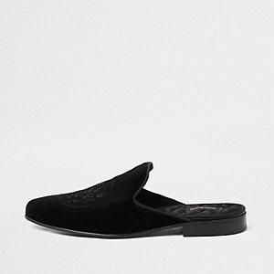 Zwarte fluwelen loafers met borduursel zonder hiel