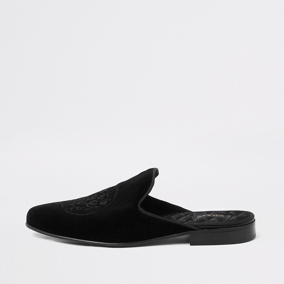 Black embroidered velvet backless loafer