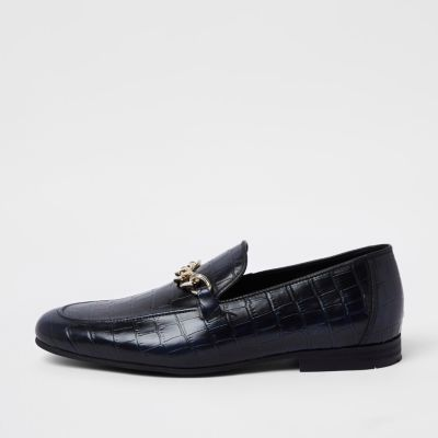 Navy High Shine Leather Croc Embossed Loafers by River Island