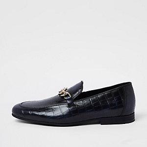 Marineblaue, hochglänzende Loafer aus Leder