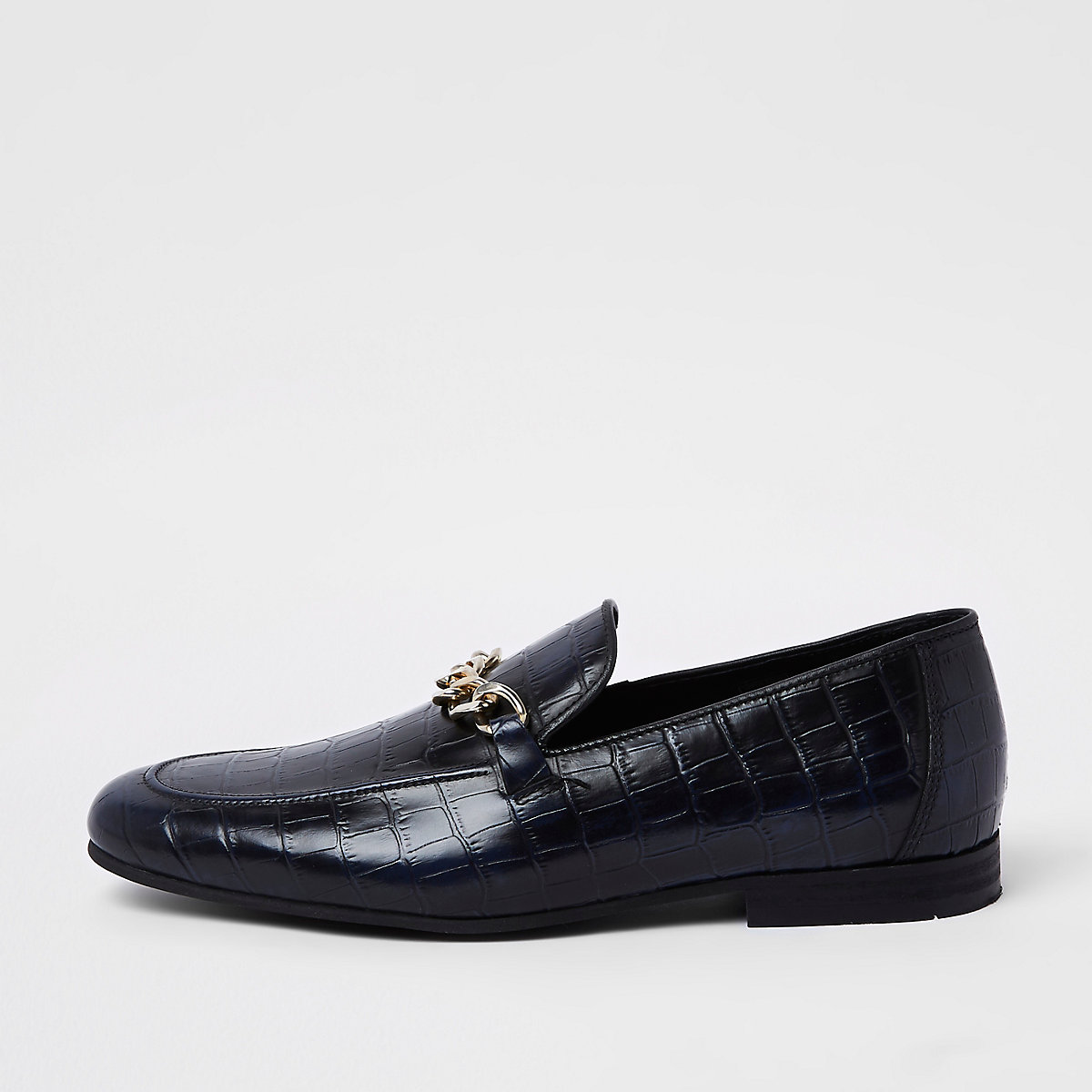 Navy high shine leather croc embossed loafers