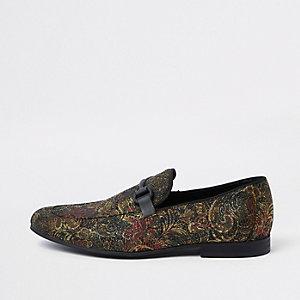 Goldene Jacquard-Loafer