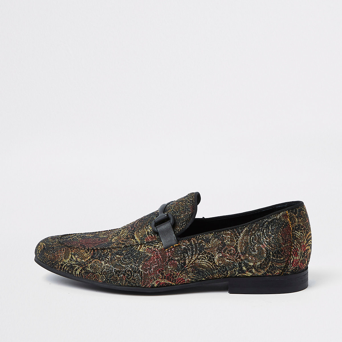 Gold tone jacquard snaffle loafers