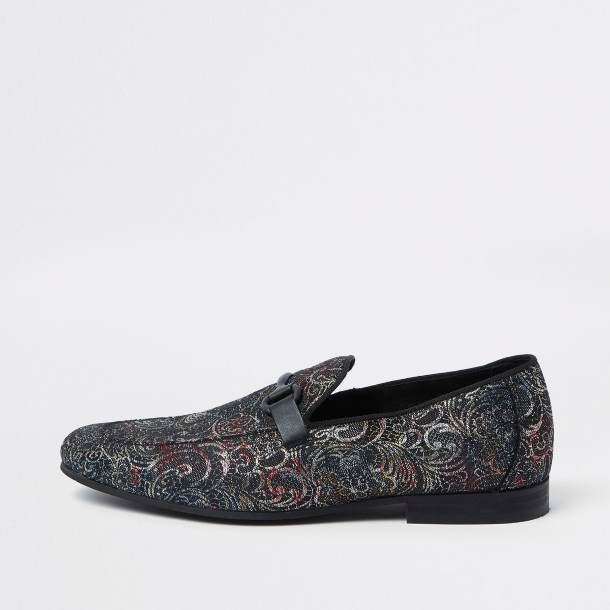 Grey jacquard snaffle loafers