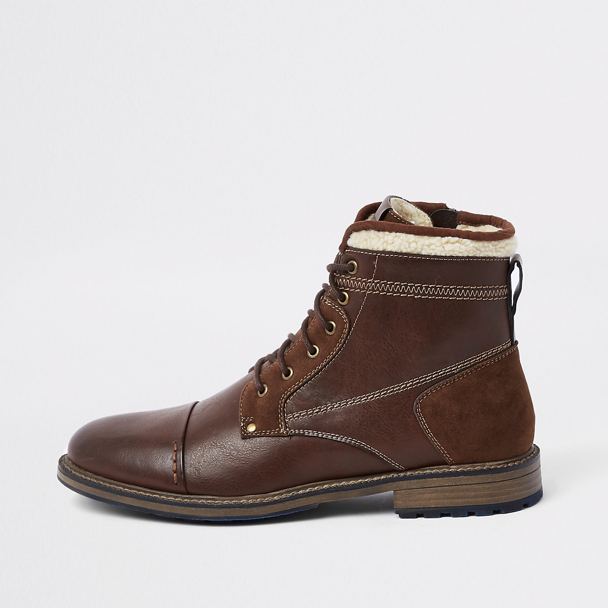 Brown borg trim lace-up boots