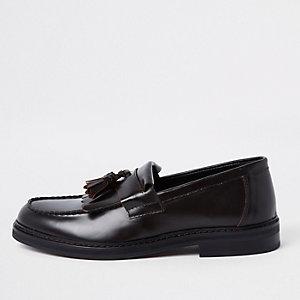 Dark red leather fringe loafers