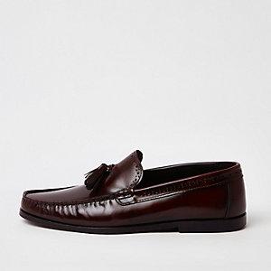 Dark red  leather tassel loafers