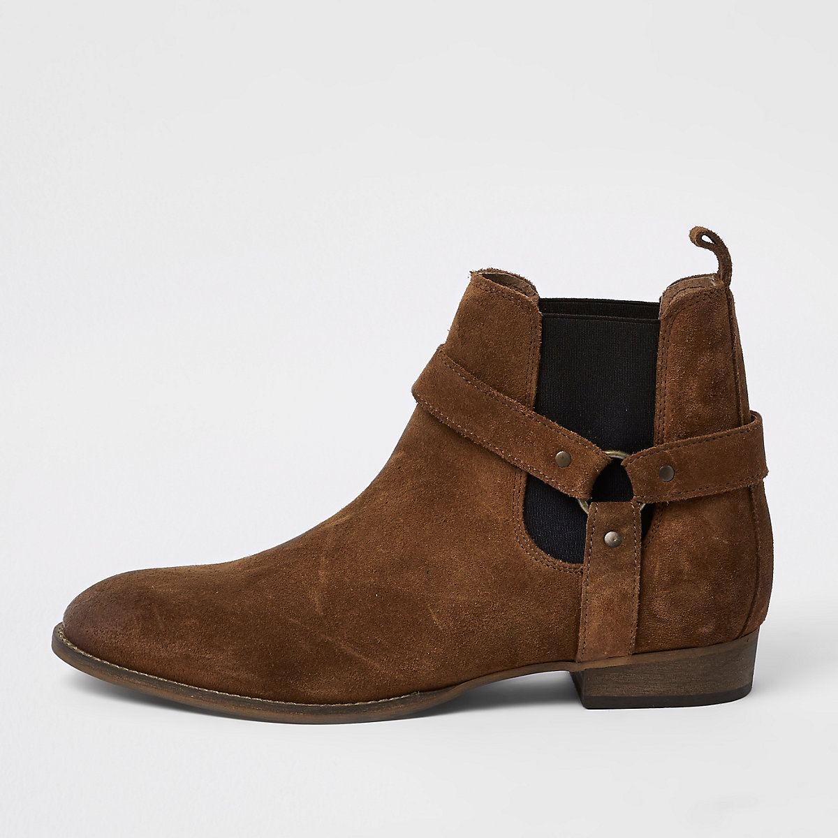 Tan western style suede boots