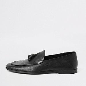 Mocassins en cuir texturé noir à pampilles