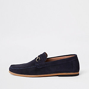 Blaue Wildleder-Loafer