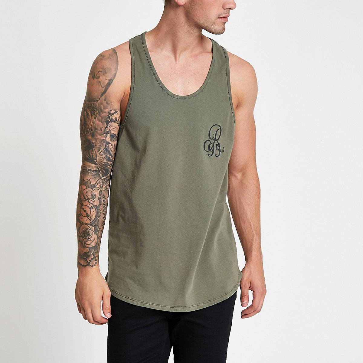 Dark green slim fit racer back tank
