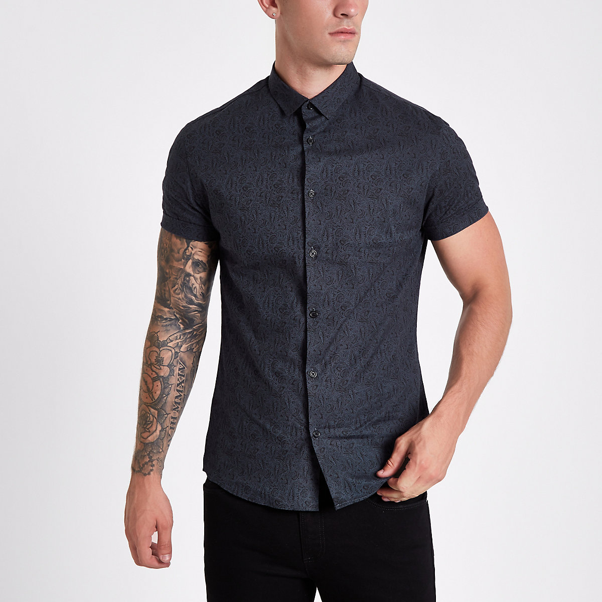 Navy short sleeve paisley muscle fit shirt