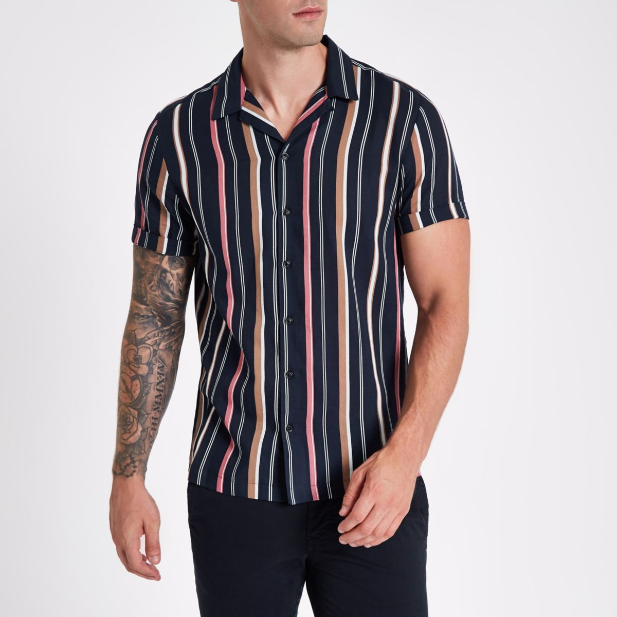 Navy stripe short sleeve revere shirt