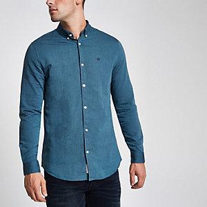 Blauw geborduurd Oxford overhemd met wespenprint