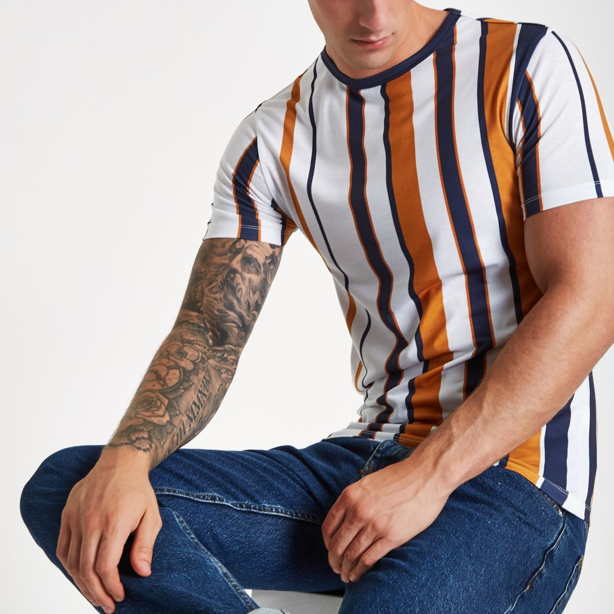 White vertical stripe muscle fit T-shirt