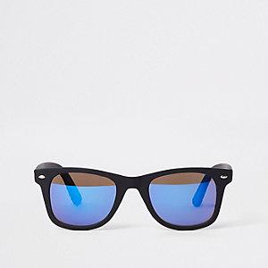 Lunettes de soleil rétro noires à verres bleus effet miroir