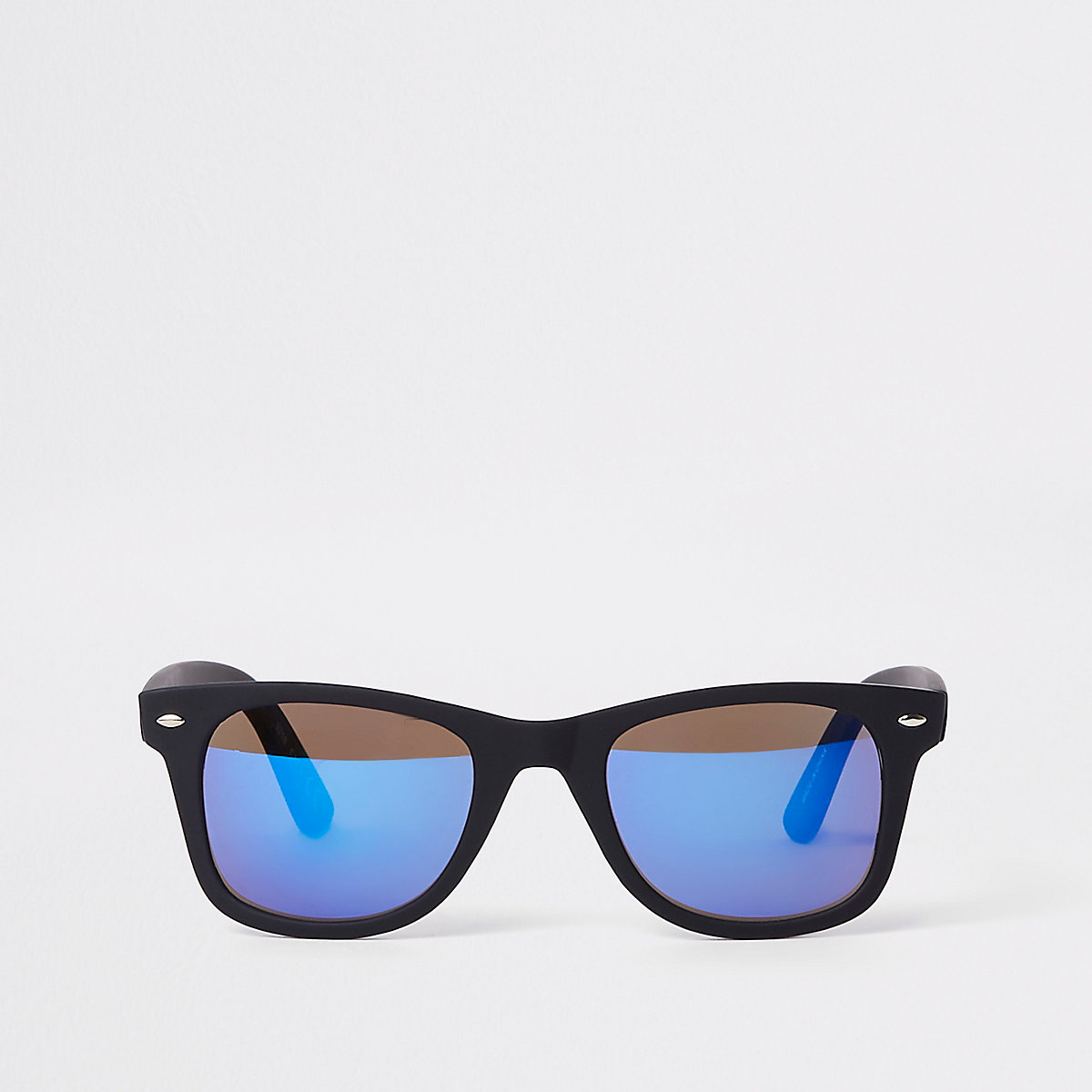 Black mirror lens retro square sunglasses