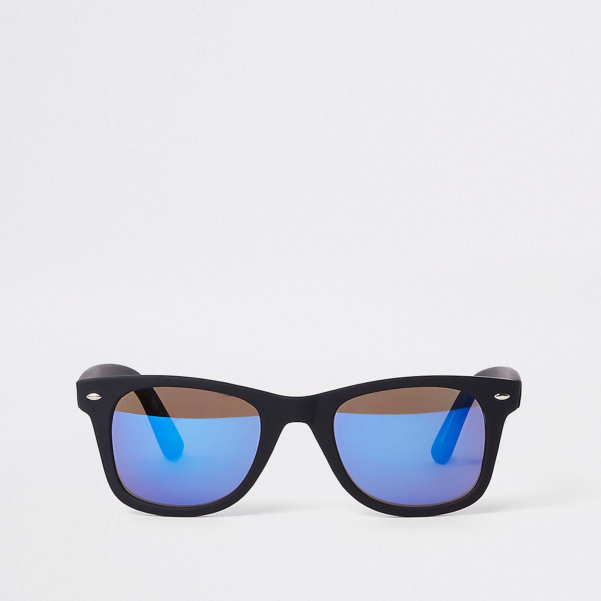 Black mirror lens retro square sunglasses