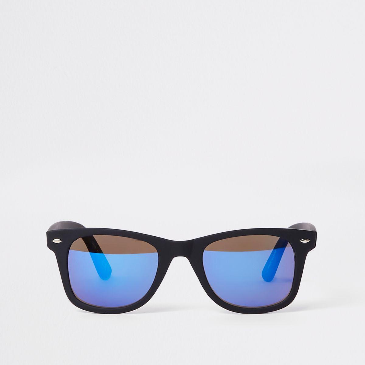 Black blue mirror lens retro sunglasses