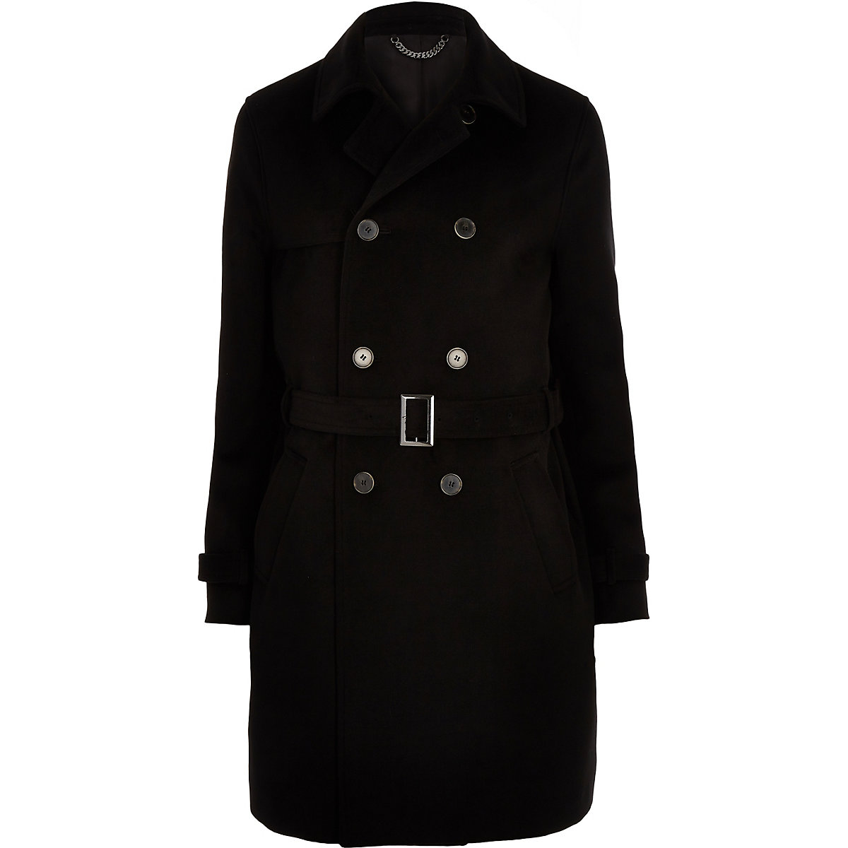 Belted double breasted overcoat