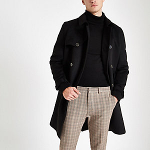 Black belted double breasted trench coat
