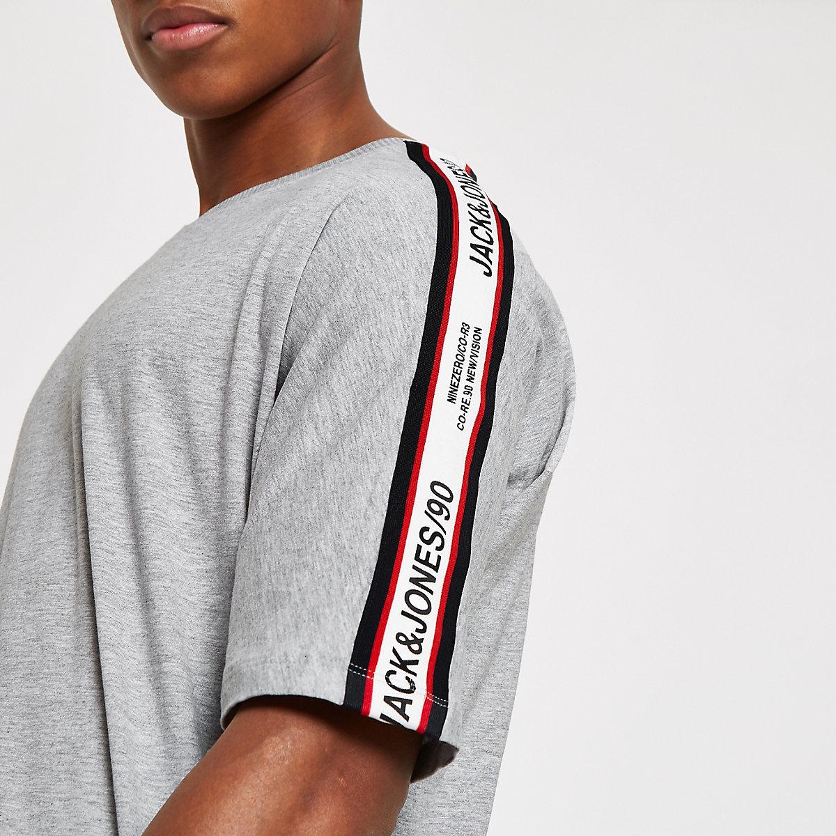 Jack & Jones grey tape T-shirt