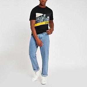 Jack & Jones – Schwarzes T-Shirt mit Skyline-Print