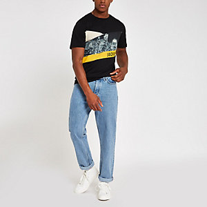 Jack & Jones - Zwart T-shirt met skylineprint