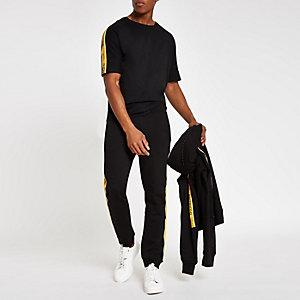 Jack & Jones – T-shirt noir à bandes latérales