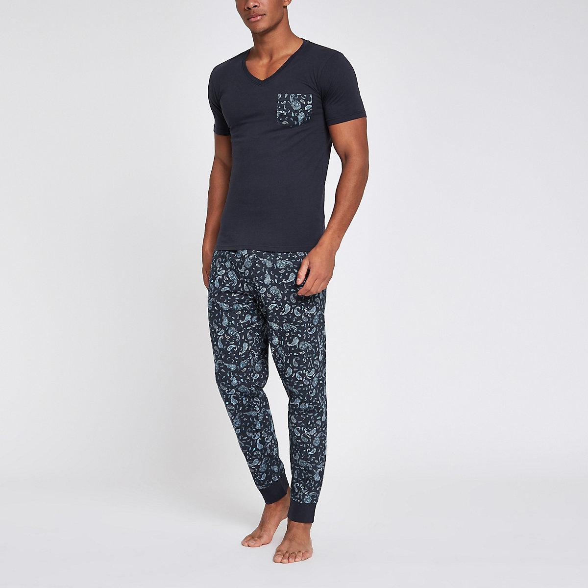 Navy paisley print pajama set