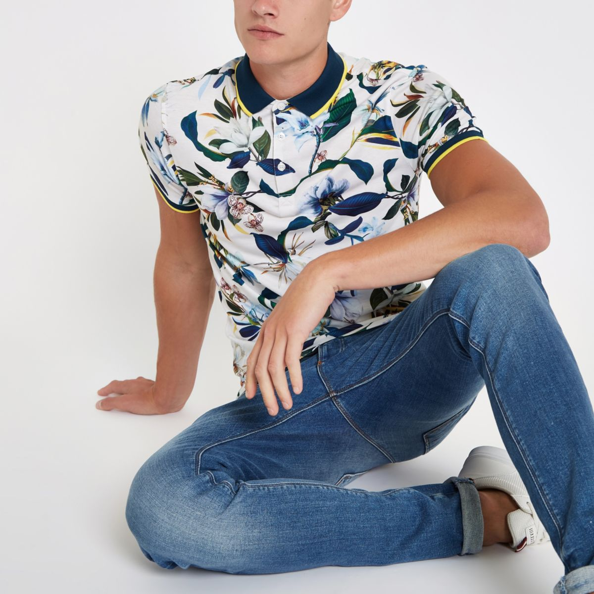 Stone floral print muscle fit polo shirt