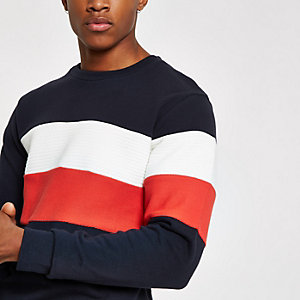 Jack & Jones – Sweat colour block bleu