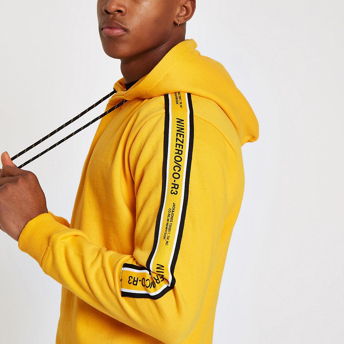 Jack & Jones yellow tape hoodie