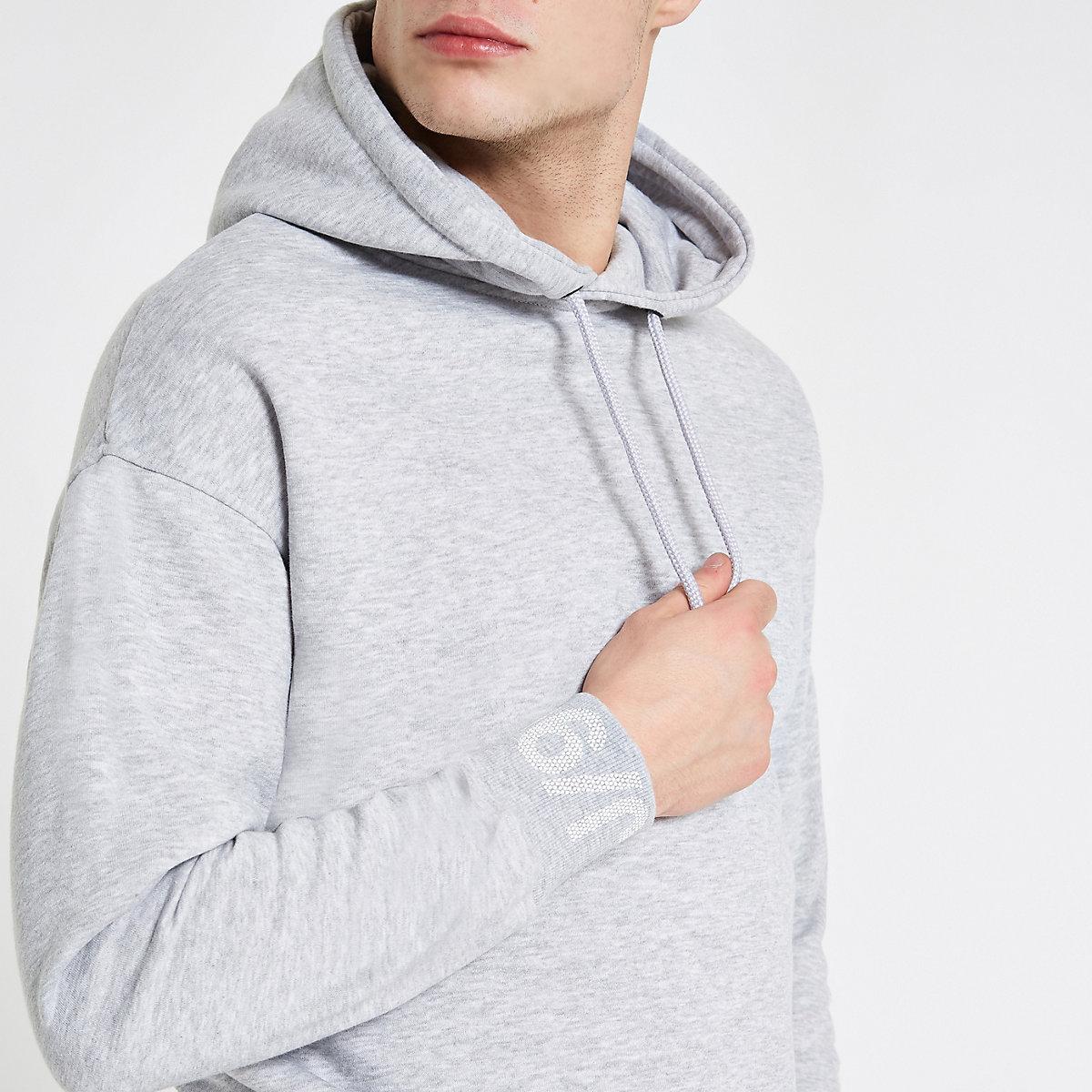 Jack & Jones Core grey printed sleeve hoodie