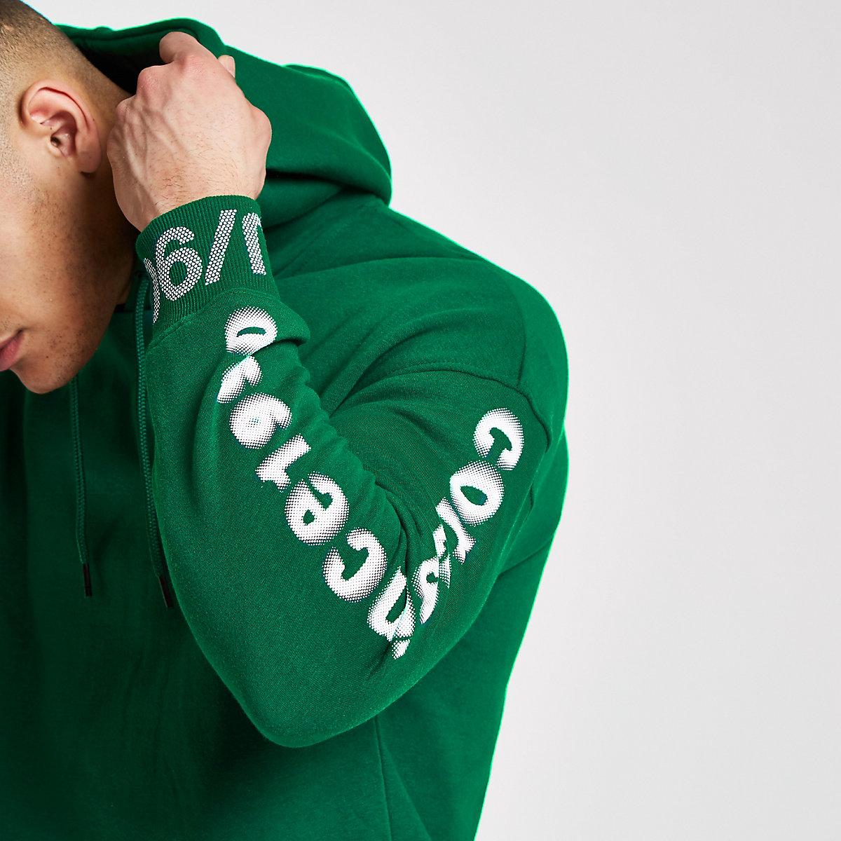 Jack & Jones Core green printed sleeve hoodie