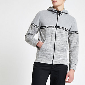 Jack & Jones grey zip front hoodie