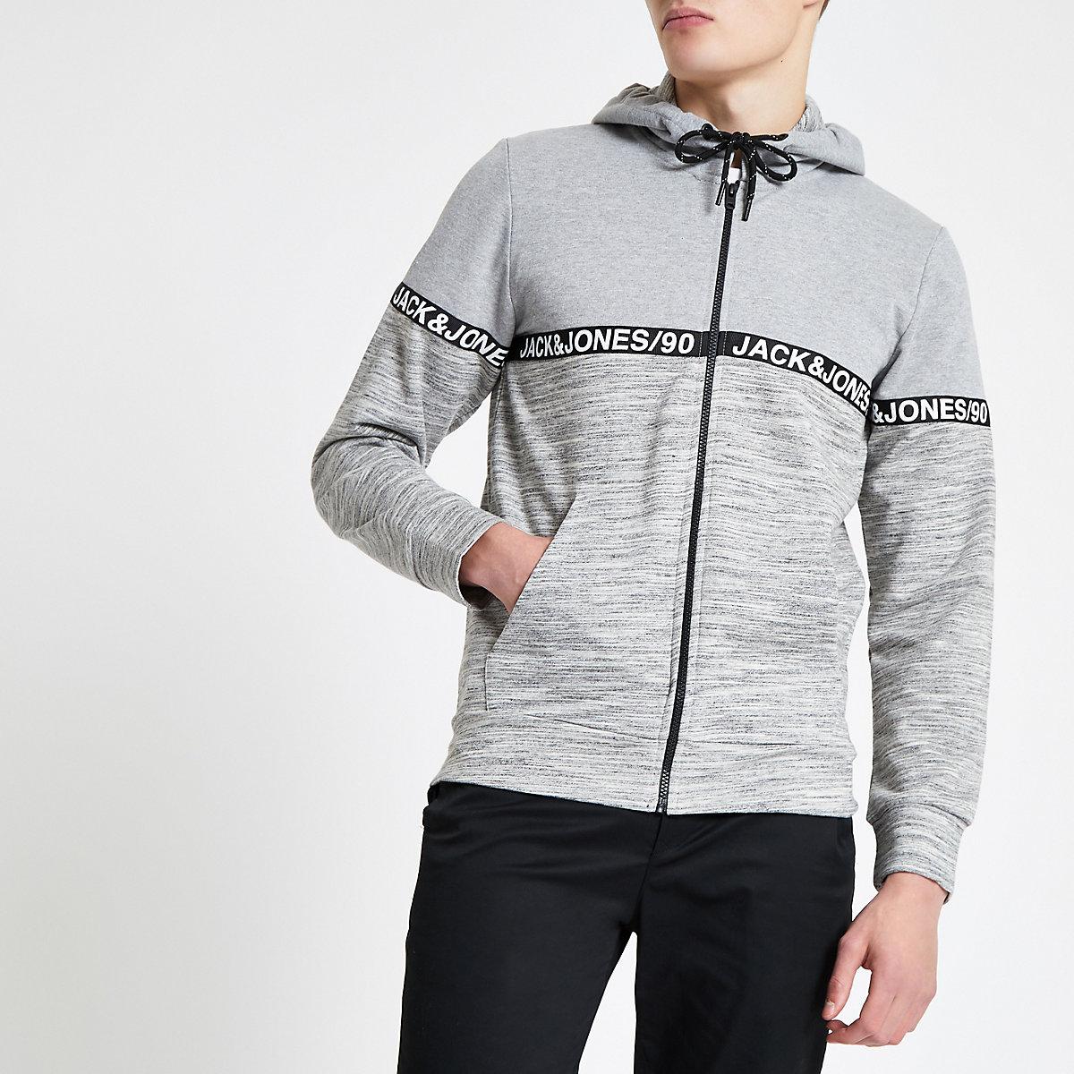 Jack & Jones grey zip front hoodie