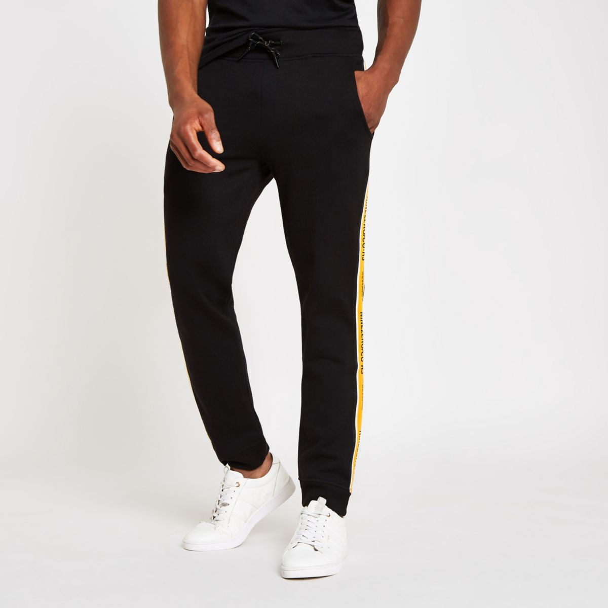 Jack & Jones black tape joggers