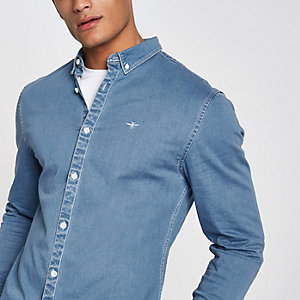 Blue muscle fit long sleeve denim shirt
