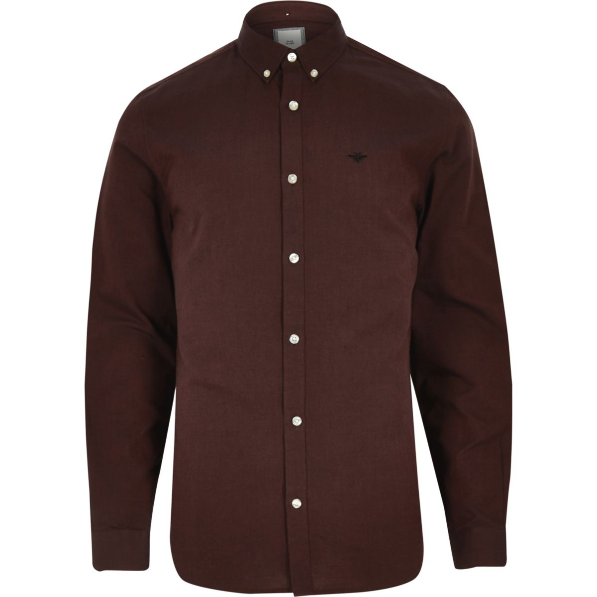 Dark red wasp embroidered Oxford shirt